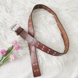 Dark Brown Genuine Leather Double Prong Belt